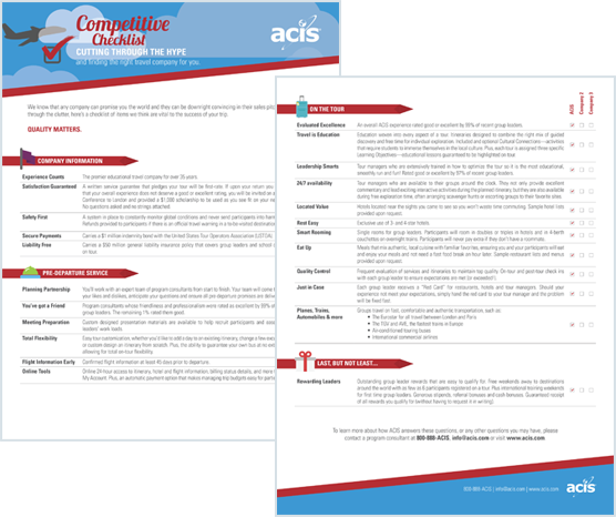 ACIS FREE Competitive Checklist